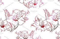 Alstroemeria seamless pattern vector by Art By Silmairel on @creativemarket