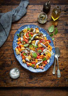 Panzanella salad with white anchovies, fennel & capers recipe