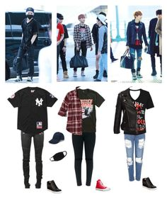 """""""Suga's outfits"""" by mochichimchim ❤ liked on Polyvore featuring Hot Topic, Hollister Co., Converse, Topshop, WearAll, ALDO, Balmain and Supreme"""