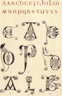 "Alphabet from 600AD, along with some ornamented examples. Alphabet dating from 500AD. From the public domain book, ""The art of illuminating as practised in Europe from the earliest times ([1866?])."" Download this book in pdf, epub or kindle (mobi) format here: https://archive.org/stream/artofilluminatin00tymmrich"
