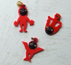 Kobe Pop Out Eyes Red Celluloid Charms 3 Japan by VogueVille