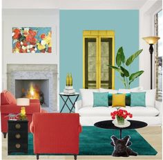 Yellow living room on pinterest yellow living rooms for Red and blue living room ideas