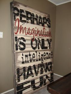 wood pallet art (intelligence) by carlene   Visit & Like our Facebook page! https://www.facebook.com/pages/Rustic-Farmhouse-Decor/636679889706127