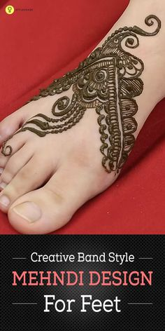 Creative Band Style Mehndi Design For Feet