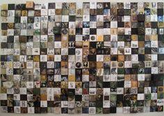 No hay naturaleza Casandra Sabag 408 pzas de 15X15cm Óleo, acrílico, esmalte vítreo,encáustica, grafito, collage, transfer.  2010.