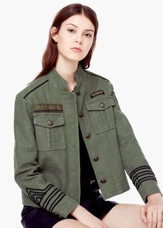 Cotton fabric Textured design Military style Long sleeve Two chest pockets with flaps Faux suede trim Decorative button detail Decorative patches Button fastening on the front section Inner lining Military Chic, Military Style Jackets, Military Fashion, Military Jacket, Field Jacket, Mantel, Casual, Jackets For Women, Retro Fashion