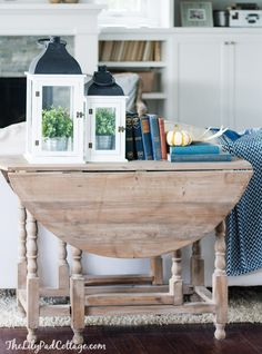 Fall Home Tour - The Lilypad Cottage. Driftwood stain to out drop leaf table, would look great behind couch in living Driftwood Stain, Decor, Painted Furniture, Drop Leaf Table, Sofa Table Decor, Leaf Table, Home Decor, Autumn Home, Table Makeover