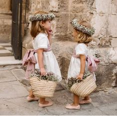 These flower girls are adorable! They look so pretty in those white dresses with pink ribbons Tell us - how many flower girls will be at your wedding? Wedding Day Weddings Planner Plan Planning Your Big Day Flower Girl Photos, Flower Girl Dresses, Boho Flower Girl, Dream Wedding, Wedding Day, Wedding Tips, Wedding Bells, Wedding With Kids, Bridesmaid Dresses