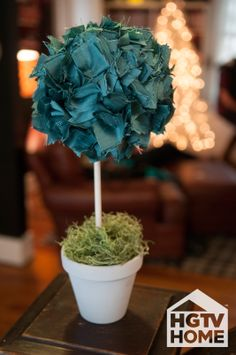 HGTV's @Farima Alavi created this fun, low-maintenance (no-sew) topiary–a perfect holiday season accent around the home. #12DaysOfHGTVHOME