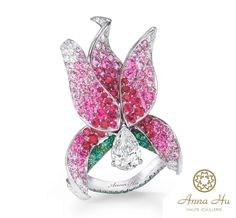 1.01-carat D flawless diamond, pink diamond, pink and purple sapphires and white diamonds set in gray titanium.  (PRNewsFoto/Anna Hu Haute Joaillerie)
