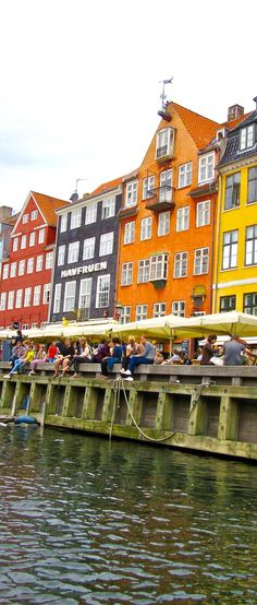 Colorful old buildings along one of the canals in Nyhavn Copenhagen,Denmark Scandinavian Architecture, Copenhagen Denmark, Faroe Islands, Old Buildings, Norway, Medieval, Dreams, Colorful, History