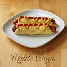 Combination of hotdog & waffle: waffle wrapped hot dogs (aka waffle dogs) | #ParksandRec