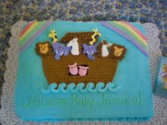 Noah's Ark baby shower cake. Animals made from royal icing.