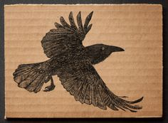 Flying crow | 18x13cm, ink on cardboard