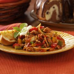Italian Pork Skillet- ground pork, bell peppers, onion, spices, marinara, and egg noodles. Under 500 calories a serving