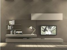 Sectional wall-mounted TV wall system I-modulArt - 277 - Presotto Industrie…
