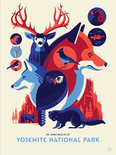 'The Iconic Wildlife of Yosemite National Park' by Tom Whalen Graphic Design Posters, Graphic Design Typography, Graphic Design Illustration, Graphic Art, Illustration Art, Wwf Poster, Tom Whalen, African Crafts, Animal Graphic