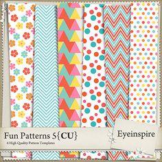 Quality DigiScrap Freebies: Fun Patterns paper pack freebie from Eyeinspire