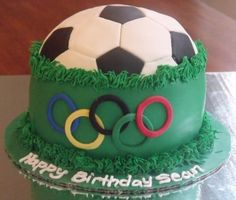 Olympic Soccer Cake Maybe some day we'll need this one! Soccer Cupcakes, Soccer Cake, Soccer Party, 7th Birthday, Birthday Cakes, Birthday Ideas, Sport Cakes, Soccer Stuff, Kid Snacks
