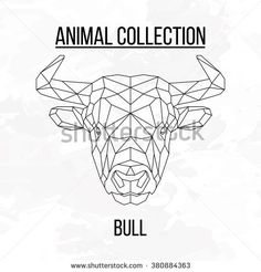 Bull head geometric lines silhouette isolated on white background vintage design element picture