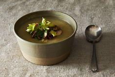 Celeriac and Potato Soup. Hearty soup with celeriac potato mushrooms walnut and celery leaf salad. Can be made vegetarian. Soup Recipes, Salad Recipes, Vegan Recipes, Whole30 Recipes, Vegan Food, Healthy Food, Celeriac Soup, Celeriac Recipes, Miso Soup