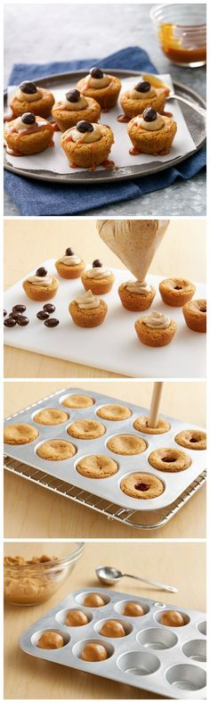 One of our most-repinned fall recipes! These adorable cookie cups would be perfect for an apple-picking party. They're made with Betty's pumpkin spice cookie mix, then get topped with a homemade pumpkin spice latte buttercream frosting and chocolate-covered espresso beans (look for these in the bulk candy section of your supermarket). Mix it up by using a sprinkle of cinnamon instead of the caramel sauce!