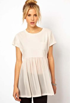White Short Sleeve Contrast Sheer Chiffon T-Shirt