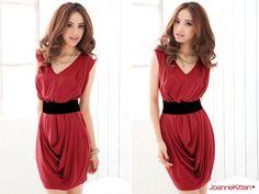 Fashion Lady Charming Pure Color Pleated Tank Dress