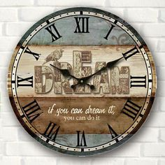 Wall Clock Wooden Rustic Retro Shabby Chic Home Kitchen Decor Art Gifts Shabby Chic Rustique, Rustikalen Shabby Chic, Casas Shabby Chic, Shabby Chic Kitchen, Shabby Chic Homes, Kitchen Decor, Wall Clock Wooden, Rustic Wall Clocks, Wood Wall