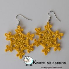 The Sunshine Yellow Snowflake Earrings are just the ray of sunshine that you need. These beautiful yellow earrings are a deeper yellow but not quite a mustard, making them the perfect fall accessory. Your wardrobe will thank you!  Crochet with 100% Egypti
