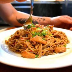 spicy thai chicken pasta finished