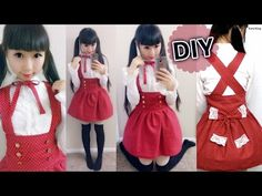 DIY Loyal Wine High Waist Skirt + How to Gather a Skirt | Casual Lolita Japanese School Outfit - YouTube