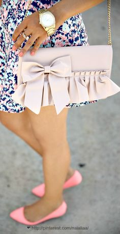 Red Valentino bow and ruffles clutch and those shoes!