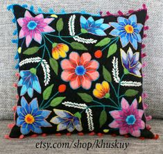 Items similar to Decorative Pillow Peruvian Pillow covers Hand embroidered flowers 16 x 16 Sheep & alpaca wool handmade Set of 2 Cream on Etsy Embroidered Cushions, Embroidered Flowers, Peruvian Textiles, Doll Sewing Patterns, Floral Pillows, Wool Pillows, Decorative Throw Pillows, Pillow Covers, Cushion Covers