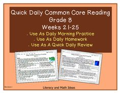 Brand New!  This daily Common Core practice is unique because it provides quick Common Core reading practice in just five minutes a day. Students read original literature and informational text passages that use the same writing techniques as award winning writers.