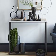 Box Frame Skinny Console - Marble/Antique Bronze #westelm