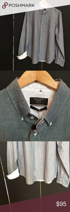 RAG & BONE Mew York Slim Fit Blue Yokohama Shirt. RAG & BONE Yokohama Shirt.  This stunning Button down Collar in high quality fabric made of 100% Cotton with a SLIM FIT. Rag & Bone Shirts Casual Button Down Shirts