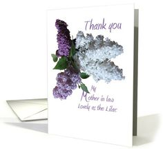 Mother of the Groom card: Wedding,Thank you, Mother in law, Lilacs in Three Shades Greeting Card