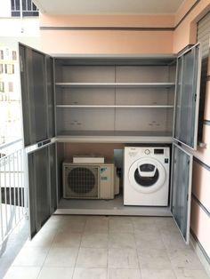 Armadio-5-ante-per-condizionatore-e-lavatrice-grigio-aperto Outdoor Laundry Rooms, Indian Home Decor, Bathroom Storage, Washing Machine, Bathrooms, Bamboo, Sweet Home, Home Appliances, Exterior