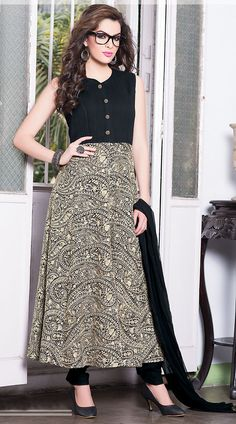 Emboridered Black Faux Georgette Ready Made Salwar Kameez