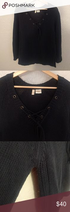 "Moth lace up sweater Excellent condition with absolutely no signs of wear. Slightly heavy weight. Navy. Opening at bottom of sweater.  Bust 36"" Length 26""  *Next day shipping  *No Trades   *All items come from a smoke free home Anthropologie Sweaters V-Necks"