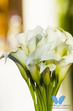 Wedding decoration. Beautiful white flowers. Decoration for orthodox wedding.
