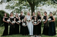 I absolutely loved this bride's approach - black gowns, but each bridesmaid created her own unique look. Black Gowns, Ivory Wedding, Bridesmaid Dresses, Wedding Dresses, Wedding Planning, June, Elegant, Unique, Gold