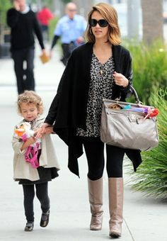 Steal The Look / Boot-iful Casual mommy style can still look pulled together, as Jessica Alba demonstrates. DRAPED LONG CARDIGAN An oversized cardigan with an asymmetrical hemline is the perfect layering piece for fall