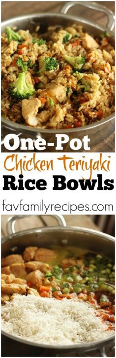 These one pot chicken teriyaki rice bowls make for the EASIEST week-night meal. You throw everything in one pot and let it simmer until finished! via Favorite Family Recipes