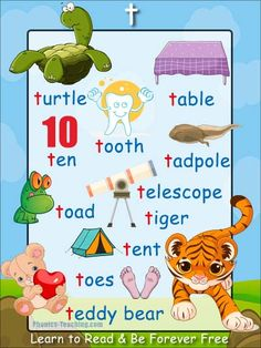 t words - words with t in them - FREE & PRINTABLE - t phonics poster - t word list - Ideal for making classroom books. English Phonics, English Grammar Worksheets, English Vocabulary, Teaching English, Learn English, Words With T, Th Words, Phonics Chart, Phonics Lessons