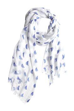 Sailboat print scarf // love! #nautical