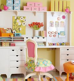 Just Pretty....workspaces,home offices,creative offices,craft rooms,DIY storage,oh louise,oh louise blog