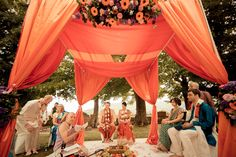 Destination wedding ceremony in Tuscany, Italy. Colorful draping.    Seen on: http://www.jetfeteblog.com/destination-weddings/indian-destination-wedding-day-tuscany-italy    Photo: http://www.davidbastianoni.com/