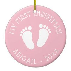Baby's 1st Christmas tree cute footprints ornament - home gifts ideas decor special unique custom individual customized individualized